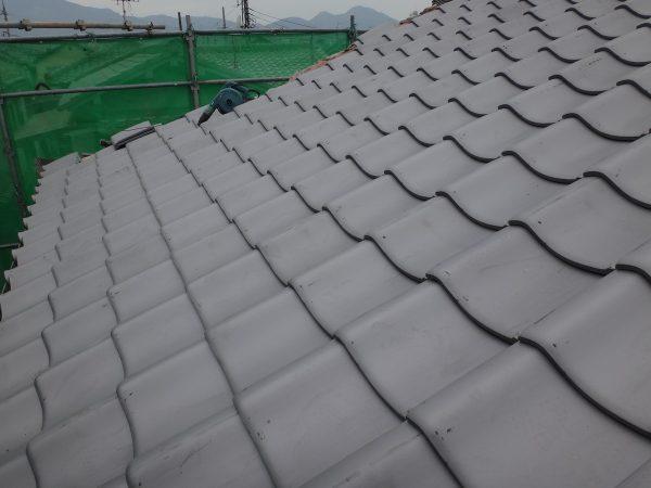 大和高田市の屋根瓦葺き替え工事現場サムネイル