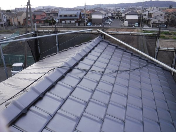 屋根の重量差 (陶器和瓦から陶器平板瓦へ葺き替えた場合)サムネイル