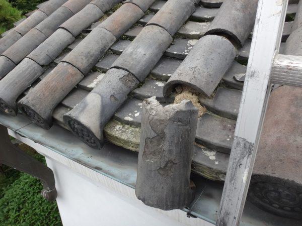 瓦が雨樋に引っ掛かっていましたサムネイル