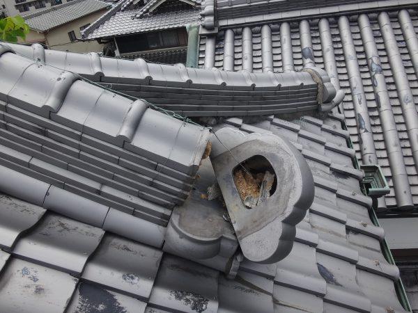 降り鬼瓦が落ちかけて危険な状態でしたサムネイル